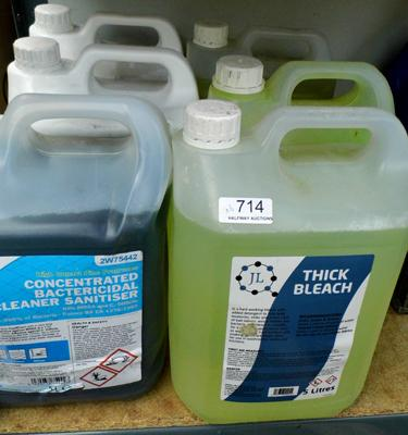 6 x 5 litre industrial grade cleaning products, incl bleach