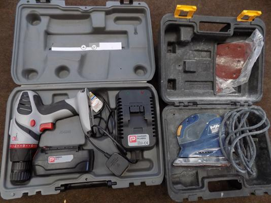 McAllister sander & cordless hammer drill + charger, both W/O