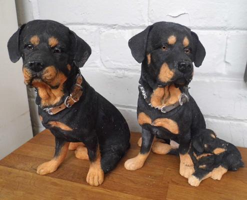 2 Rottweiler hand painted figures