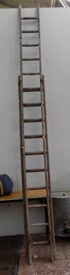 Double wooden ladders - one 10 rung and other 15 rung