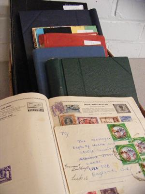 Box of 9 stamp albums