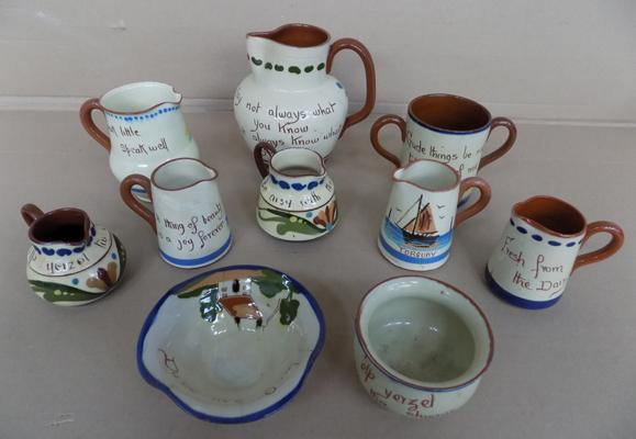 10x Old Motto ware Watcombe/Allervale/Cong Earl jugs/mugs/vases