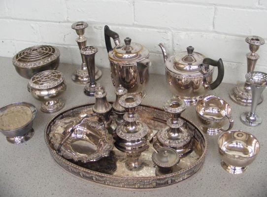 Set of EPNS silver & silver plated tableware & flower display items