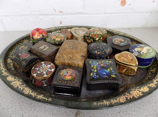 Large assortment of wooden trinket boxes