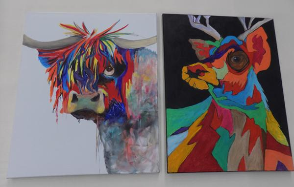 2 x approx. 24 inch x 18 inch paintings