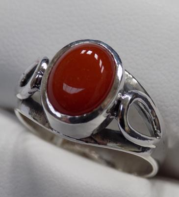 Silver & agate set ring
