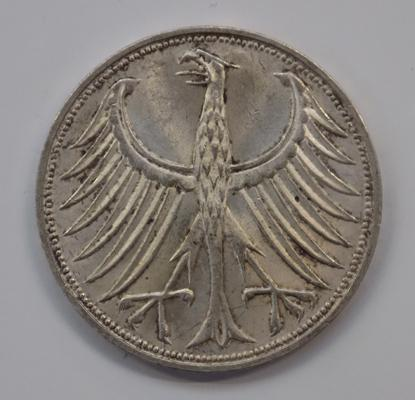 1990 Germany silver 5 mark coin