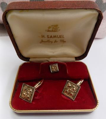 H Samuel boxed gold on silver cufflinks