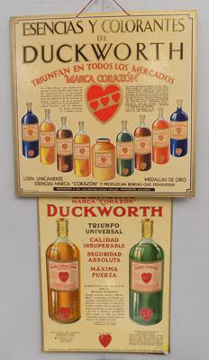 Genuine 1930's advertising cardboard signs (Duckworth & Co of Manchester)
