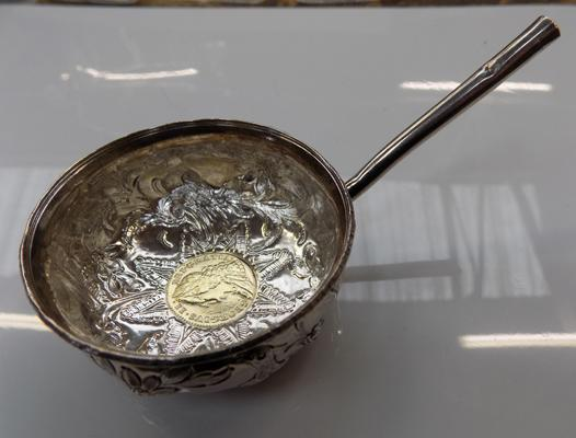 George II silver toddy ladle with George II coin inset