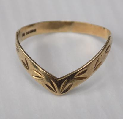 Ladies 375/9ct gold ring approx 1.1g