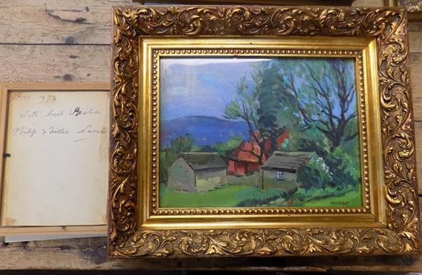 Gilt framed oil on canvas by Philip Naviasky (British 1894-1982) Dales landscape signed with hand written signed note, Christmas 1973