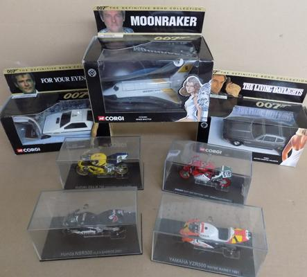 Selection of diecast incl. James Bond and Super Bikes
