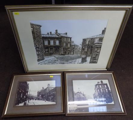 Framed print of Haworth by BJ Lambert + 2x framed photos of vintage Shipley