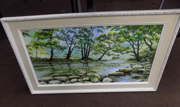 Large framed oil by John Brook 'River Aire nr Shipley'