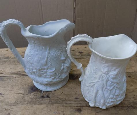Pair of Parian ware antique jugs, (Battle of Plassey 1757) slight damage to one