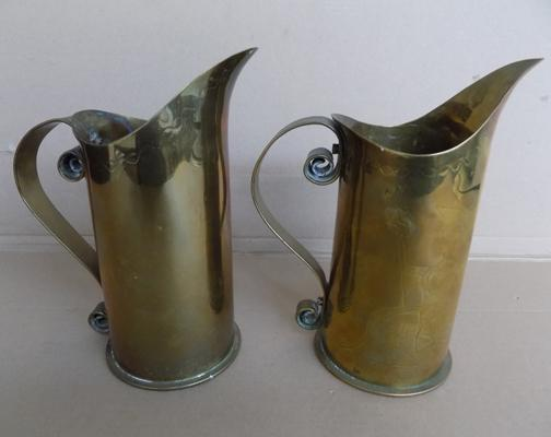 Pair of 1914 trench art brass jugs