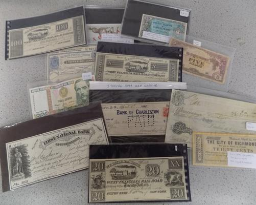 Large collection of foreign notes 1899 USA cheques & Civil War Confederate 1862 30 cent note