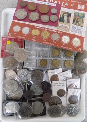 Large collection of coins inc 15 crowns + George V & Victorian