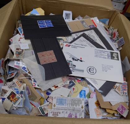 Box containing 10,000++ stamps
