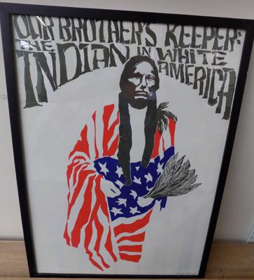 Large framed poster American Indian