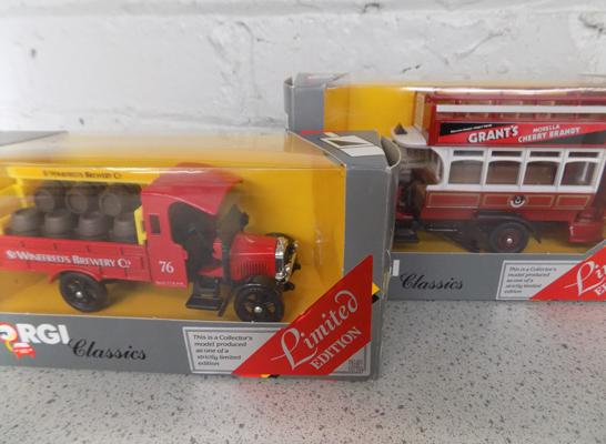 2x Boxed Corgi, Thornycroft lorry and bus