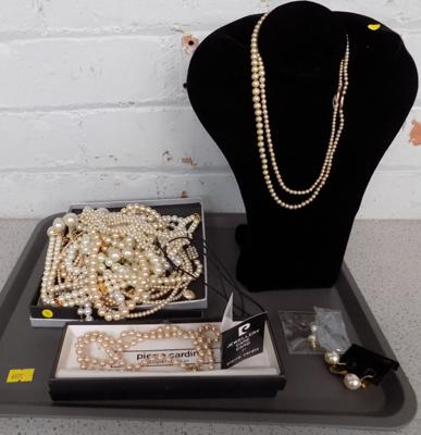 Selection of costume pearl necklaces.chokers.earrings inc Pierre Cardin + 2x genuine pearl necklaces with gold clasps