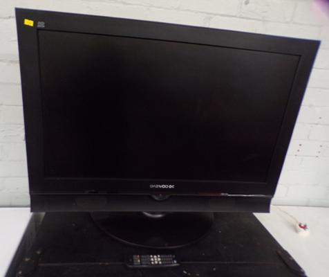 "Daewoo 37"" TV and remote (in office) - no power cable"