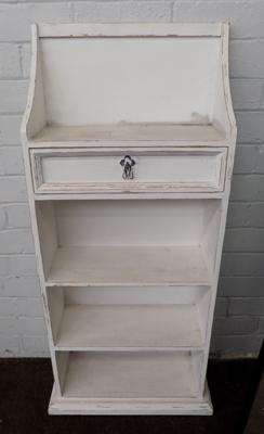 Painted pine hall shelving unit