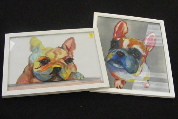 Two original framed acrylic French bulldog painting
