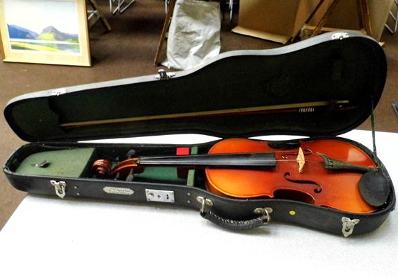 Full size cased violin with bow, needs 1 string