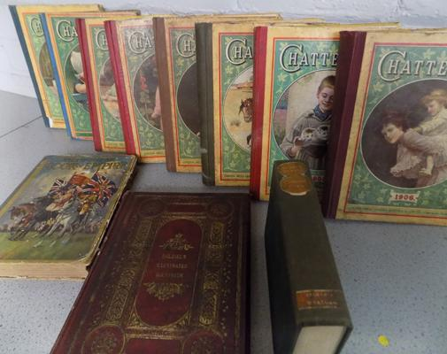 Vintage and antique books, mostly over 100 years old