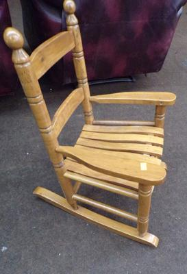 "Oak child rocking chair - ideal for dolls - 23"" tall"