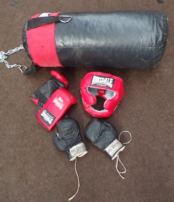 Punch bag on chain, head guard and 2 pairs of gloves