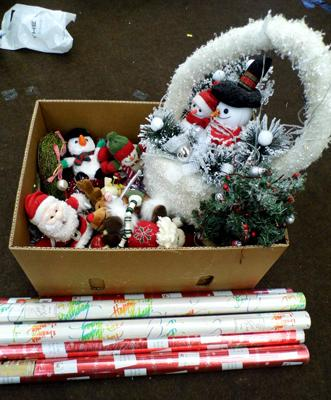 Box of Christmas decorations & 6 rolls of wrapping paper