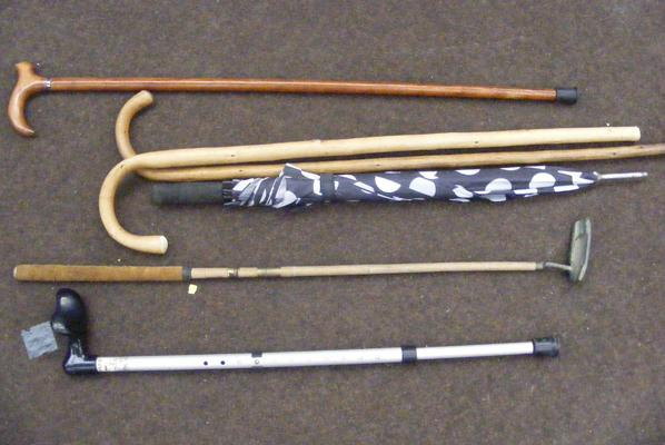 Collection of sticks incl. walking and golf