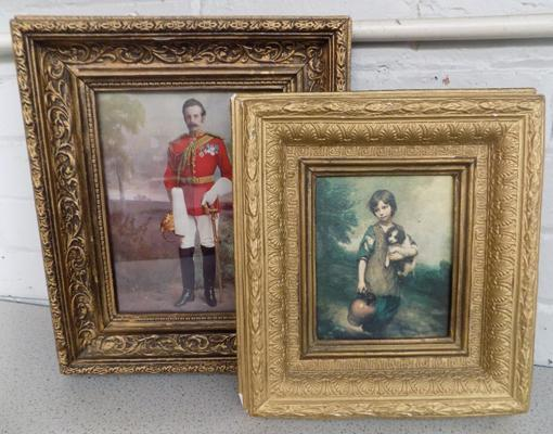 2x Repro paintings in heavy ornate old frames