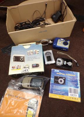 Box of cameras, chargers and Garmin sat-nav etc.