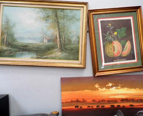 Oil painting (signed) + 2 others
