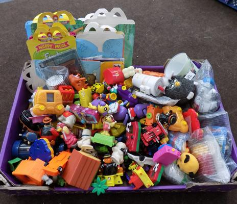 Large box of vintage McDonald's toys