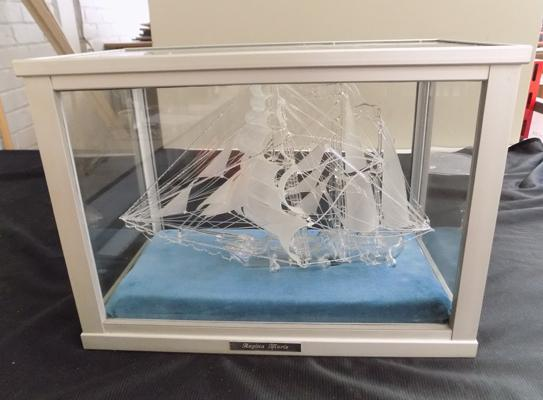 "Large glass cased Regina Maris ship-no damage, approx 13"" high x 18"" wide"