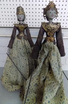 "Pair of ornate Thai vintage stick puppets, wooden bodies, brass decorated , 25"" tall"