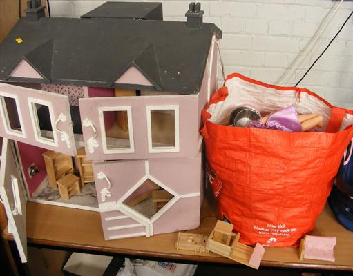 Dolls house and selection of furniture