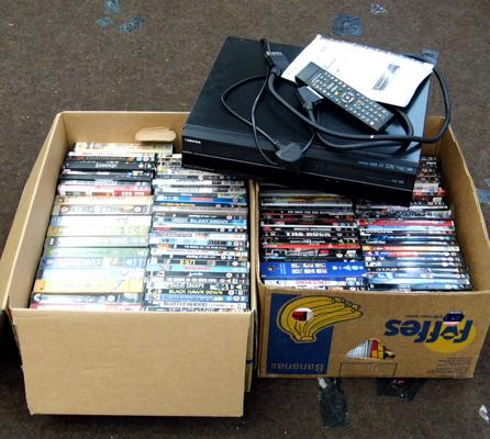 2x Boxes of DVD's with Toshiba DVD/VHS player