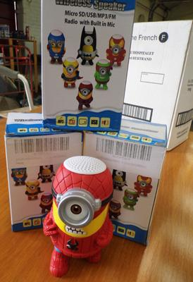 3x New Minion Bluetooth speakers - with SD slot - Am/Fm radio