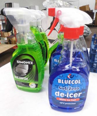 6x Bottles of bug shifter and 3x de-icer