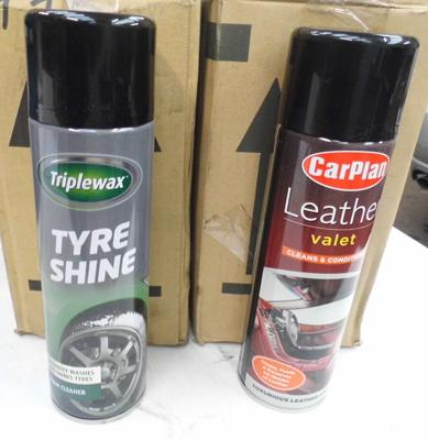 6x Cans of tyre shine and 6x cans of leather cleaner