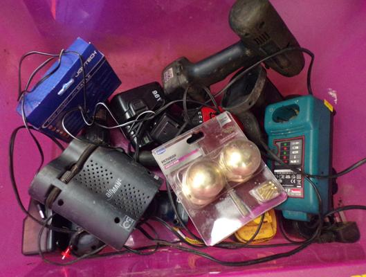 Box of drills, chargers etc.
