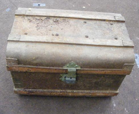 "Large as found metal trunk - 24"" wide"