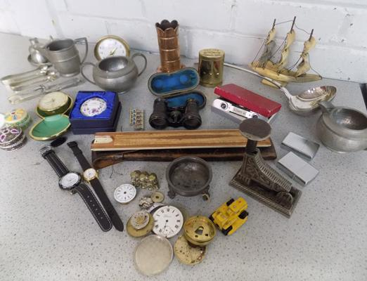 Collection of vintage and antique collectables incl. lighters, watches, brass, antique 1910 staple gun, ladle etc.